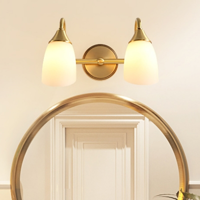 Dome Metal Vanity Wall Sconce Traditional 2 3 Heads Bathroom Wall Mount Light In Brass Beautifulhalo Com