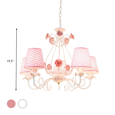 Fabric Pink/White Hanging Chandelier Tapered 5 Lights Traditional Down Lighting Pendant for Bedroom