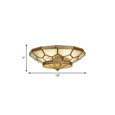 Faceted Living Room Flushmount Light Traditional Frosted Glass 3/4/6 Lights Brass Ceiling Lighting, 14