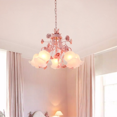 Floral White Glass Chandelier Light Countryside 5 Bulbs Living Room Pendant Lamp in Pink/Green