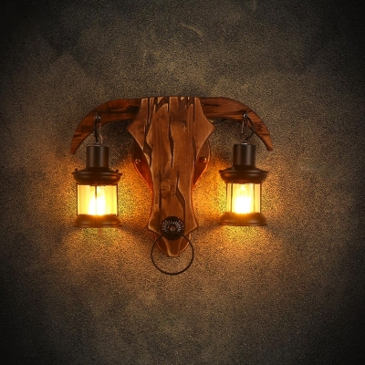 Metal Lantern Shade Wall Sconce Lamp Lodge Style 2 Heads Brown Wall Hanging Light with Bull Shape Backplate