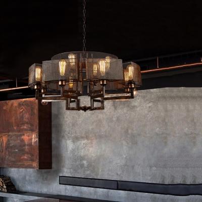 Metallic Rust Chandelier Half Round Frame 12-Light Farmhouse Style Suspended Lighting Fixture