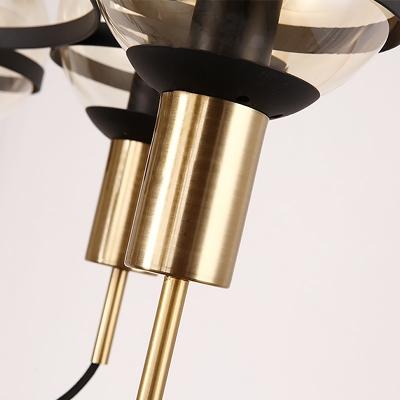 Mid Century Modern Cluster Globe Pendant Amber Glass Chandelier Lighting in Brass