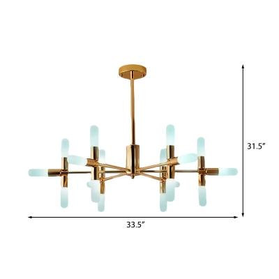 Opal Glass Tube Pendant Light Mid Century Multi Light Radial Chandelier Lighting