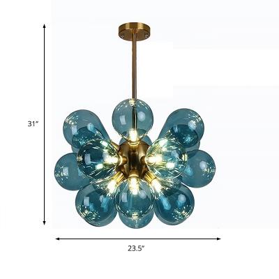 Post Modern Balloon Chandelier Lighting Hand Blown Glass Multi Light Brass Hanging Light