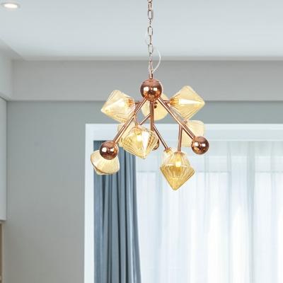 Prism Ribbed Glass Chandelier Lamp Vintage 9 Lights Dining Room Pendant Lighting in Clear/Amber