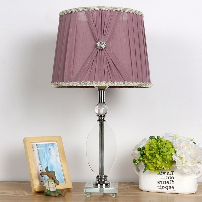 Purple Barrel Nightstand Light Traditionalism Clear K9 Crystal 1 Light Living Room Table Lamp with Square Pedestal