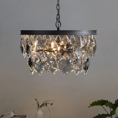 Round Dining Room Pendant Chandelier Traditional Faceted Crystal 4 Heads Black/Gold Hanging Ceiling Light, HL580901