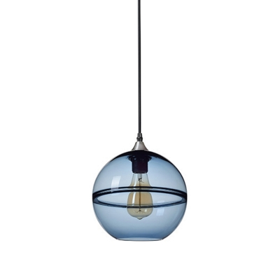 Sphere Pendant Ceiling Light Modern Blue/Clear Glass 8