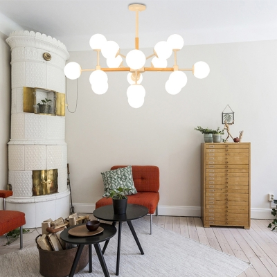 Starburst Chandelier Lighting Modernism White Glass 9/12/16 Heads Dining Room Hanging Lamp