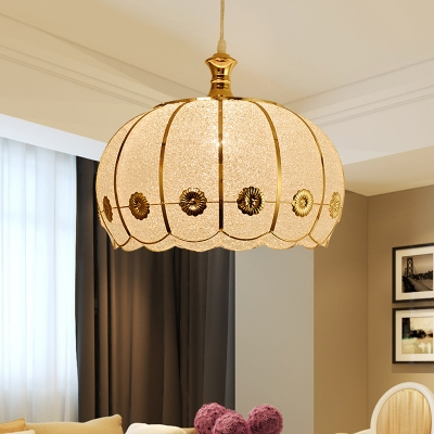 Traditional Scalloped Drop Lamp 1 Head Plastic Pendant Ceiling Light in White/Red for Living Room