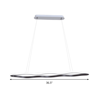 Wave Acrylic Ceiling Pendant Light Simple Style Coffee LED Chandelier Light Fixture in Warm/White Light, 25.5