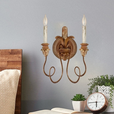 Wood Scroll Frame Sconce Countryside 2 Lights Bedroom Wall Lighting Fixture in Bronze/White/Distressed White