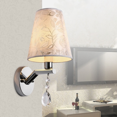 Beautifulhalo coupon: 1 Bulb Cone LED Wall Sconce Traditional Beige Crystal Wall Light with Fabric Shade for Bedroom