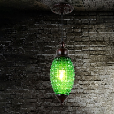 1 Light Droplet Pendant Lighting Green/Brown/Yellow Prismatic Glass Suspension Light for Dining Room