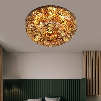 2/3 Lights Round Flush Mount Tiffany Style Yellow/Light Purple/Pink Shell Flushmount Ceiling Fixture for Bedroom, 10