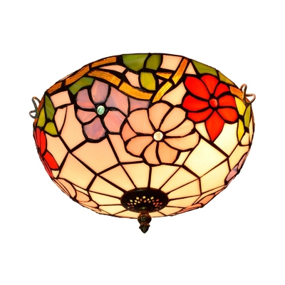 2/3 Heads Ceiling Lighting Tiffany Blossom Handcrafted Art Glass Flush Light Fixture in Bronze