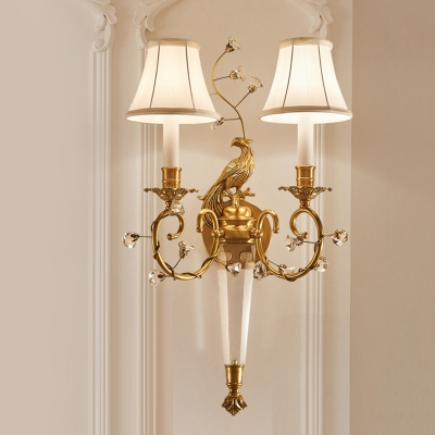 2 Lights Bedroom Wall Lighting Traditional White Sconce Light Fixture with Flared Fabric Shade