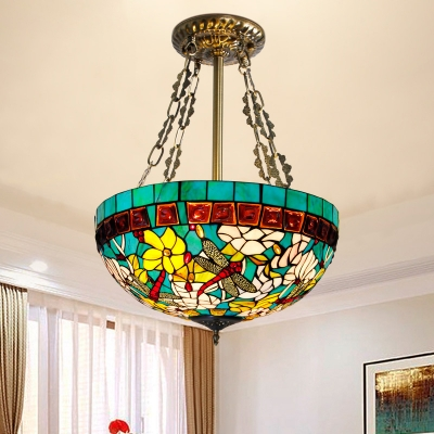 3 Heads Living Room Semi Flush Mount Light Tiffany Blue Ceiling Lamp with Dome Stained Glass Shade, HL580639