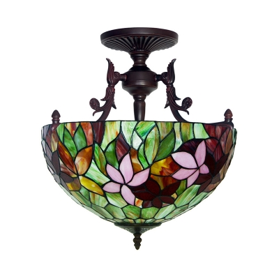 3 Lights Semi Flush Light Victorian Blossom Stained Art Glass Ceiling Mounted Fixture in White/Red/Yellow