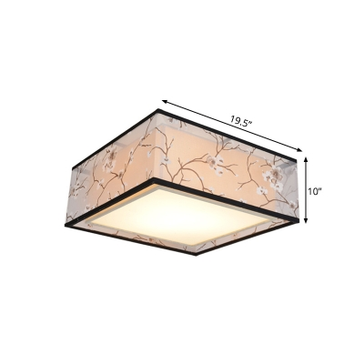 4/5-Light Fabric Flush Light Traditionalism White Square Living Room Close to Ceiling Lighting, 16