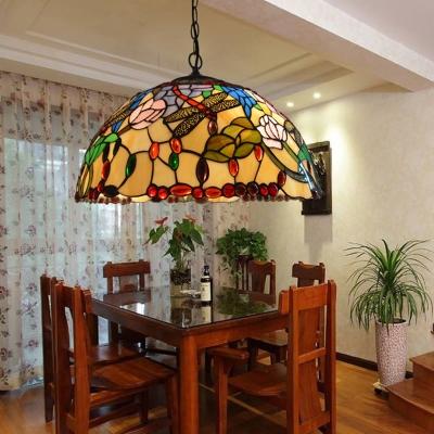 Beige Cut Glass Ceiling Chandelier Dragonfly 3 Lights Mediterranean Hanging Lamp Kit for Dining Room