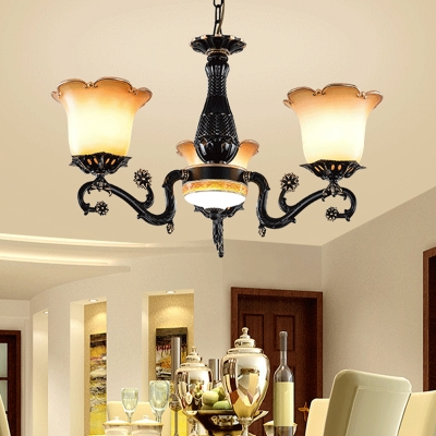 Black 4/6/7 Heads Chandelier Lighting Traditionalism Opal Frosted Glass Floral Ceiling Pendant Light for Living Room