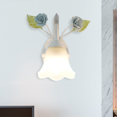 Blossom Bedroom Sconce Light Traditionalism Ivory Glass 1 Head White/Pink/Blue Wall Lighting Fixture