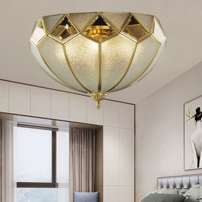 Bowl Seeded Glass Ceiling Mounted Fixture Traditional 4 Bulbs Living Room Flush Mount Ceiling Lamp in Brass