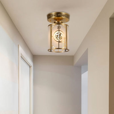 Brass 1 Light Ceiling Lamp Traditional Curved Frosted Glass Cylinder Semi Flush Mount Ceiling Light for Corridor