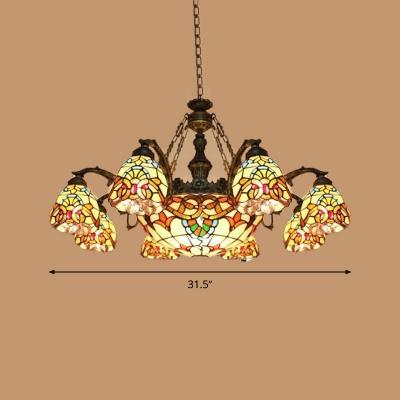 Brown Flower Chandelier Lamp Mediterranean 8/11 Lights Stained Glass Suspension Pendant Light