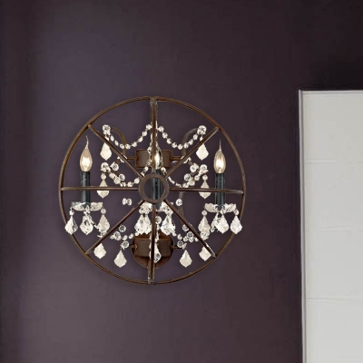 Circle Bedroom Wall Sconce Industrial Clear Crystal Glass 2/3 Heads Rust Wall Lighting Fixture, HL583852