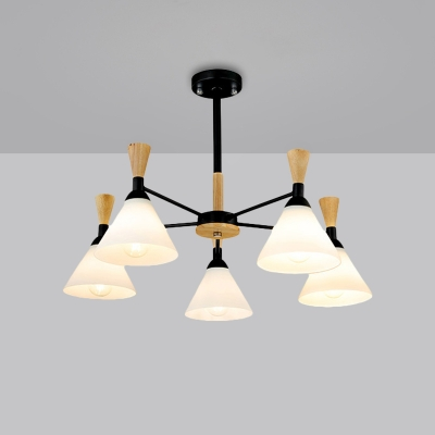 Cone Chandelier Light Fixture Modernist Style White Glass 5 Lights