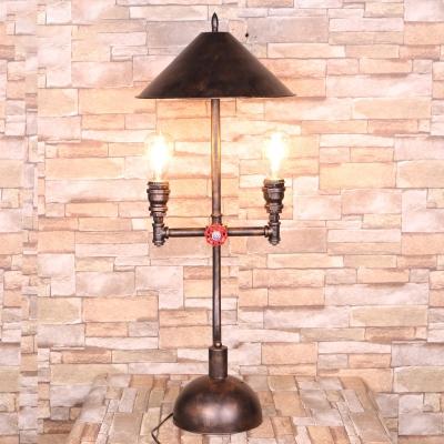 Conical Bedroom Desk Light Vintage Metal 2 Lights Antique Bronze Table Lamp with Pipe Design, HL576245