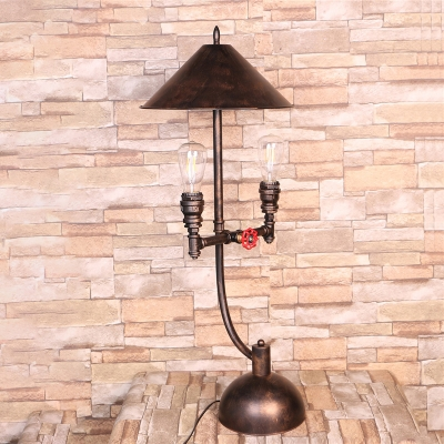 Conical Bedroom Desk Light Vintage Metal 2 Lights Antique Bronze Table Lamp with Pipe Design
