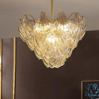 Conical Semi Flush Mount Contemporary Crystal 9 Heads Brass Ceiling Mounted Light for Bedroom, HL578423