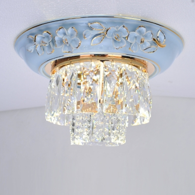 Crystal Block Tiered Ceiling Mounted Light Contemporary Blue/Beige LED Flush Light, 12