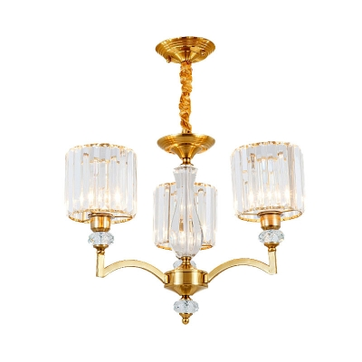 Cylindrical Ceiling Chandelier Modernism Crystal 3/6/8 Bulbs Brass Hanging Light Kit, 23.5