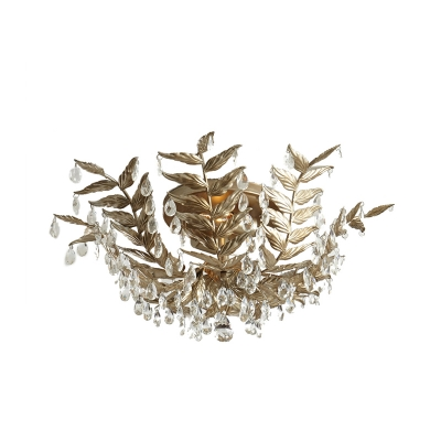 Gold 10 Heads Semi Flush Mount Light Traditional Faceted Crystal Leaf Ceiling Fixture, HL580874