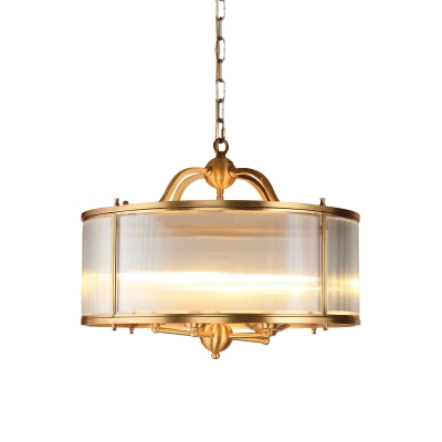 Gold 4/5 Heads Chandelier Lighting Colonialism Frosted Prismatic Glass Drum Pendant Ceiling Light for Living Room