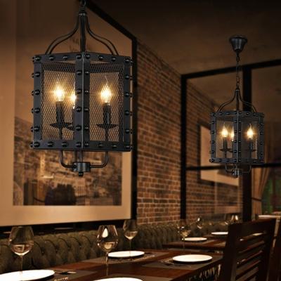 Iron Faceted Frame Ceiling Chandelier Vintage Style 3 Lights Black Hanging Lamp Kit