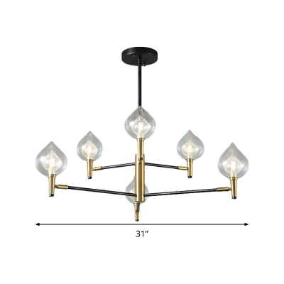 Metal Armed Chandelier Lamp Modernist 6/8 Bulbs Black-Gold Ceiling Pendant Light with Clear Glass Shade
