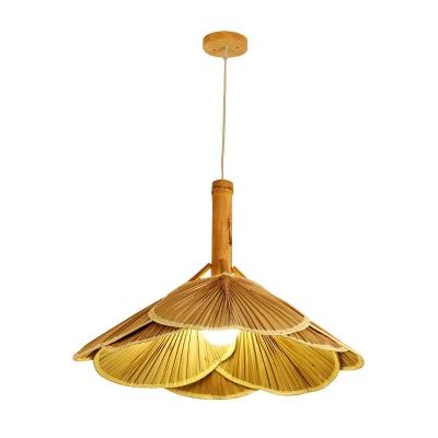 Modern Fan Ceiling Light Bamboo 1 Light Suspension Pendant in Wood for Dining Room