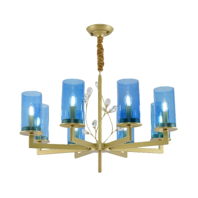 Modern Style Cylinder Chandelier Lamp Blue Glass 8/10 Lights Living Room Hanging Ceiling Light