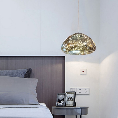 Mushroom Ceiling Lighting Contemporary Smoked Glass LED Bedroom Hanging Pendant Light