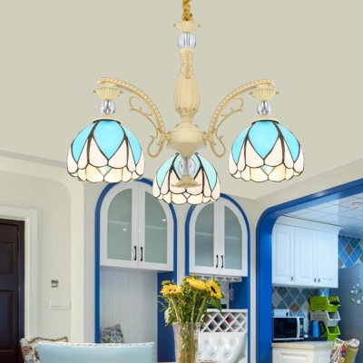 Tiffany Domed Shade Chandelier 3/5/9 Lights Sky Blue Glass Suspension Lighting Fixture for Living Room HL581830 фото