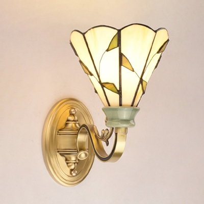 1 Light Dome/Conical/Bell Wall Mount Lamp Tiffany Stylish Gold/Orange/Yellow Cut Glass Sconce for Living Room