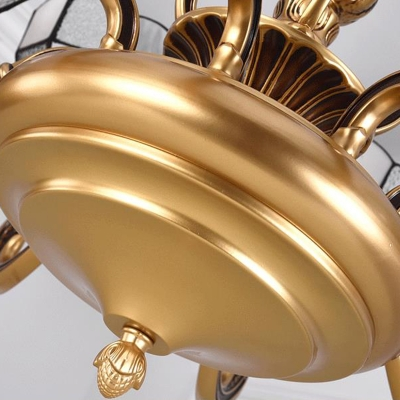 12 Heads Scalloped Chandelier Lighting Fixture Tiffany-Style Gold Hand Cut Glass Hanging Light for Living Room