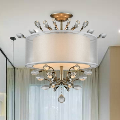 3 Heads Drum Hanging Chandelier Simple Style Silver Clear Crystal Pendant Lighting, HL580580