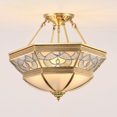 4-Light Bowl Semi Flush Light Traditional Gold Frosted Glass Ceiling Mounted Fixture for Living Room